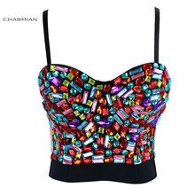 Charmian Women's Sexy Punk Boned Bustier Bra Crop Top Sliver Beads Burlesque Club Dance Party Body Shaper Corsets and Bustiers(China)