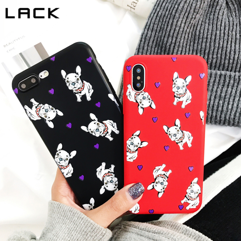 LACK Cute Bulldog Phone Case For iphone 7 6 6s 8 Plus Cartoon Animal Dogs Love Heart Cases For iphone X Soft Silicone Back Cover