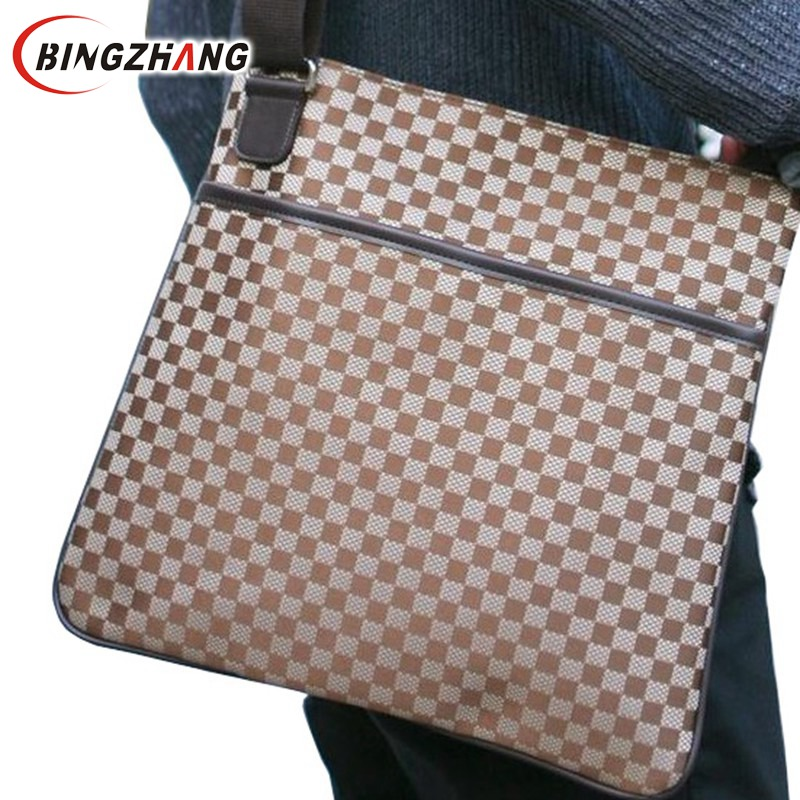 fashion casual plaid men messenger bag 2018 Designer Brand Handbag Canvas Shoulder Bags khaki Brown free shipping FC40-19