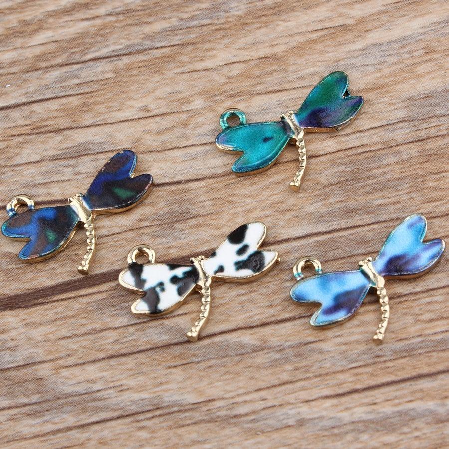 Mini Order 10PCs 15*21MM Enamel Alloy Dragonfly Pendants Gold Color Plated Oil Drop Metal Bracelet Necklace Charm Pendant