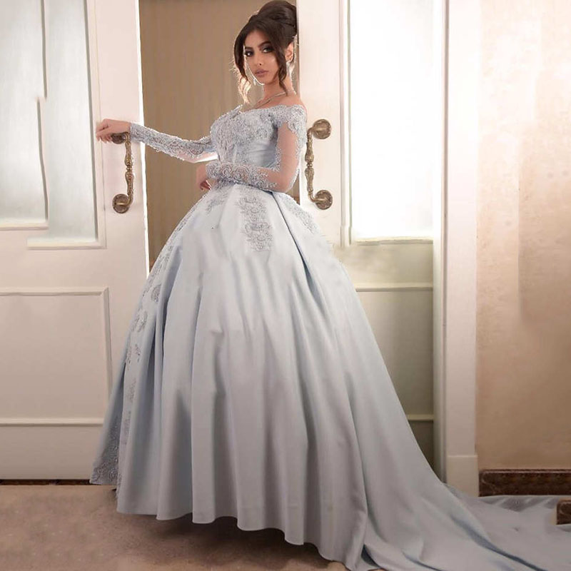 Ball Gown Sweetheart Long Sleeves Off The Shoulder Lace