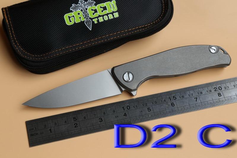 Green thorn F95 95 folding font b knife b font Double row ceramic ball bearing D2