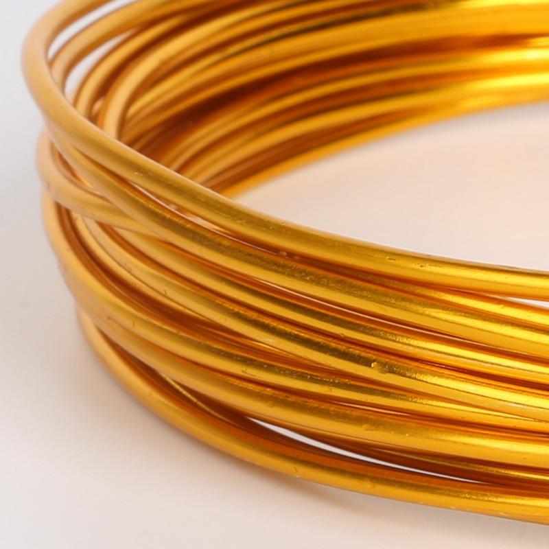 Мягкая Золотая алюминиевая проволока 1/1.5/2/5/5 мм, бисерная проволока для браслетов, ожерелий, бижутерии, поделок, аксессуары для ювелирных из...