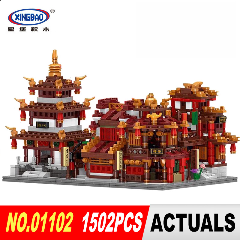 XingBao 01102 1502Pcs Zhong Hua Street Serie 4 in 1 The Teahouse Library Cloth House Wangjiang Tower Set Building Blocks Model highsmith p found in the street