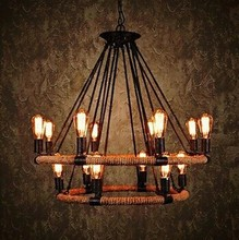 2 Tiers,Retro Country Loft Style Hemp Rope Edison Vintage Industrial Pendant Lighting Lamp With 14 Lights For Dinning Room Foyer