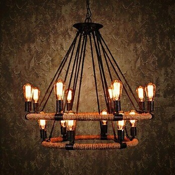 2 Tiers,Retro Country Loft Style Hemp Rope Edison Vintage Industrial Pendant Lighting Lamp With 14 Lights For Dinning Room Foyer vintage industrial loft pendant lights fixture hemp rope retro e27 holder wicker pendant lighting for dining room diy lamp
