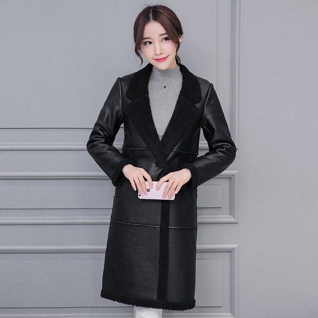 Womens Winter Warm Thick Slim Long Faxu Leather Coats Ladies Fashion Plus Velvet Flocking Large Lapel Long Sleeve Outerwear Coat