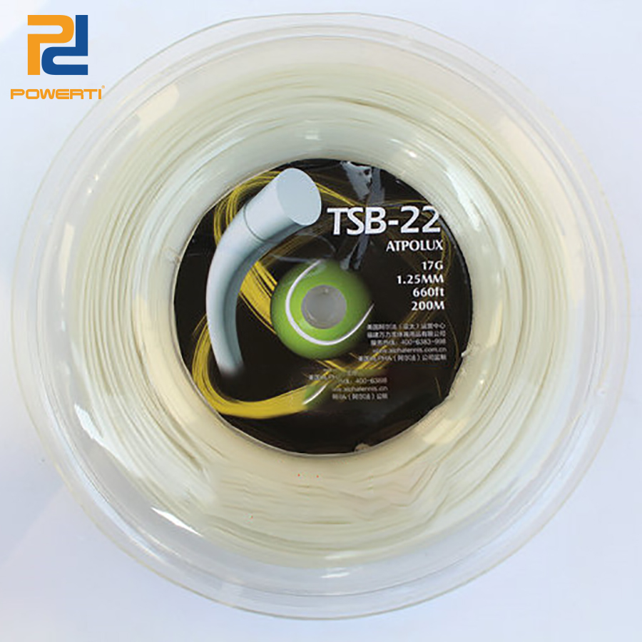 POWERTI 1.25mm High Viscosity Tennis Racket String White Durable Polyester 200m reel Reel Sport Training String TSB-22 powerti 4g rough bigtennis racket string 1 25mm 200m reel polyester racquet string round power flexibility tennis string