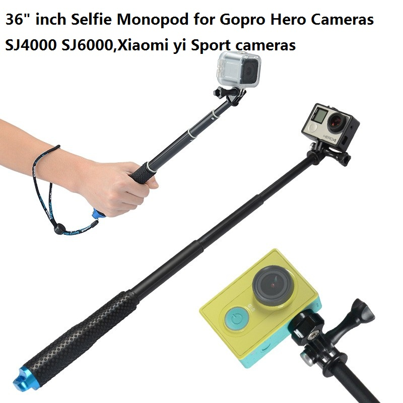GoPro 28-92CM 36″ Inch Extendable Pole Telescoping Handheld Monopod with Mount Adapter for GoPro 2 3 3+ 4 SJ4000 SJ6000 XiaoYi
