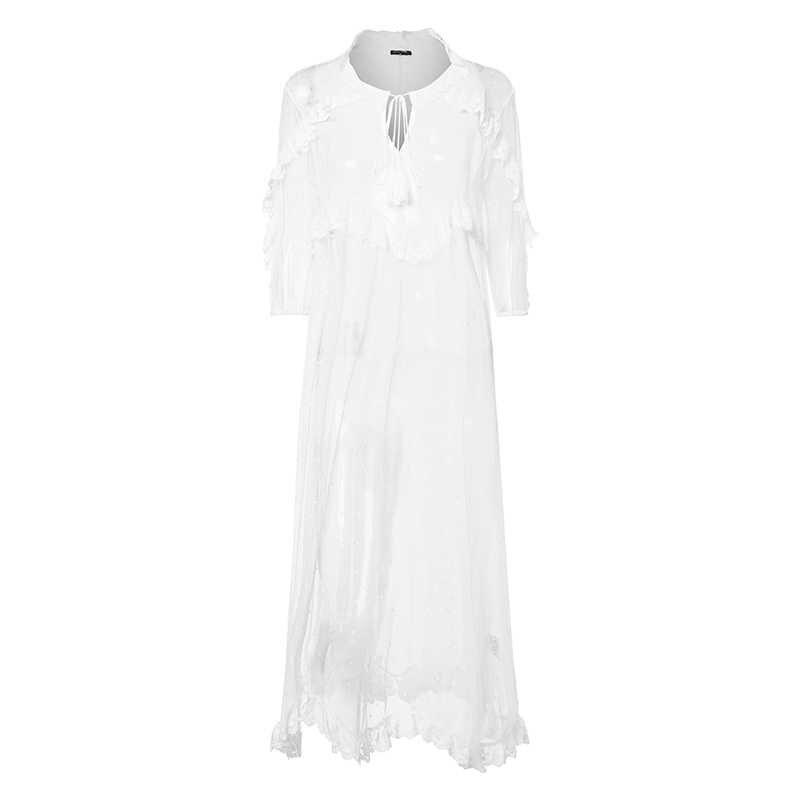 VIVO Bohemia Đầm Ren Trắng 2019 Phụ Nữ Chữ V Gợi Cảm Chấm Rỗng Vạc Không Đối Xứng ĐẦM MÙA HÈ Ngày Lễ Cardigan Vestidos S-5XL