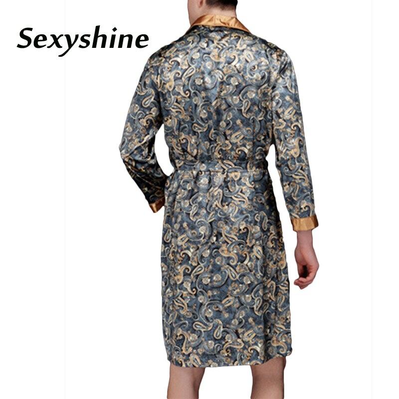 Bathrobe men dressing gown sexy long gay clothes chinese dragon long sleeve summer nightgown print high quality mens sleep robe