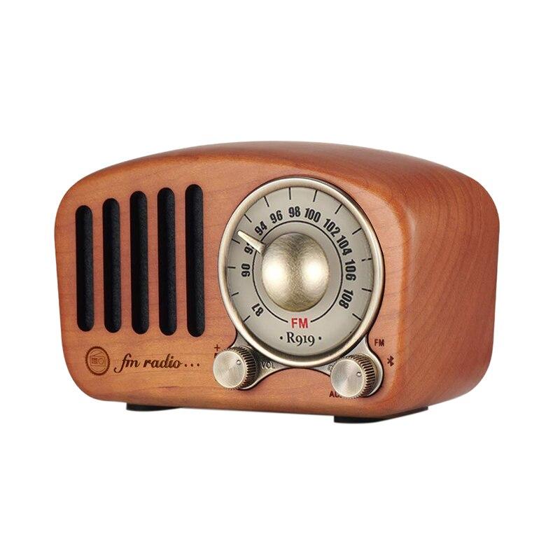 Vintage Radio rétro Bluetooth haut-parleur-bois Fm Radio Style classique, forte amélioration des basses, Volume fort, prend en charge Aux Tf C