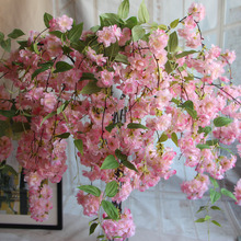 140CM Natural vertical silk cherry blossom for wedding decoration DIY Cherry trees wall hanging artificial flower bouquet