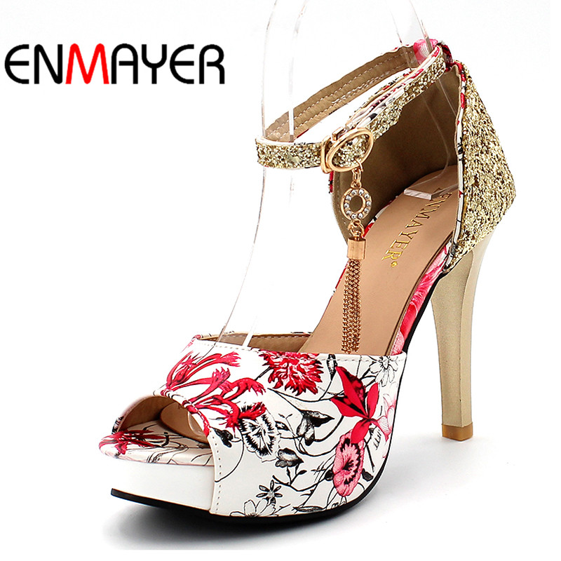 ENMAYER Summer Women Casual Fashion Print Sandals Pumps Shoes Peep Toe Buckle Strap Thin Heels Large Size 34-47 Black Blue Red sgesvier fashion women sandals open toe all match sandals women summer casual buckle strap wedges heels shoes size 34 43 lp009