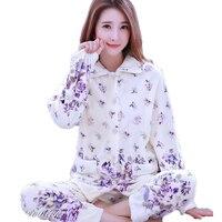 Winter Women Pyjama Set Thick Warm Coral Fleece Pajama Suit Cute Cartoon Long Sleeve Flannel Nightwear