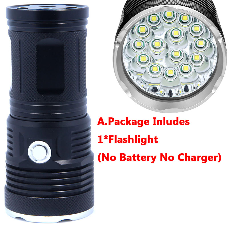38000 Lumens 3-15x CREE XML T6 LED 5 Mode 18650 Outdoor Super Flashlight Torch