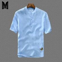 Мужские пуловеры, рубашки, модные, короткий рукав, тонкие, лен, свободные, с вышивкой, рубашки для мужчин, белые цвета, Повседневные Рубашки, Топы Y1690