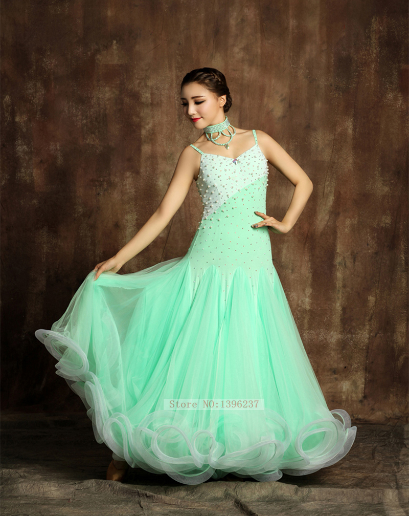 Ballroom Competition Dresses For Women New Light Green Lighting Tango Dancing Wear Ladys Standard Ballroom Dance Dress