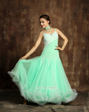 Ballroom Competition Dresses For Women New Light Green Lighting Tango Dancing Wear Lady's Standard Ballroom Dance Dress