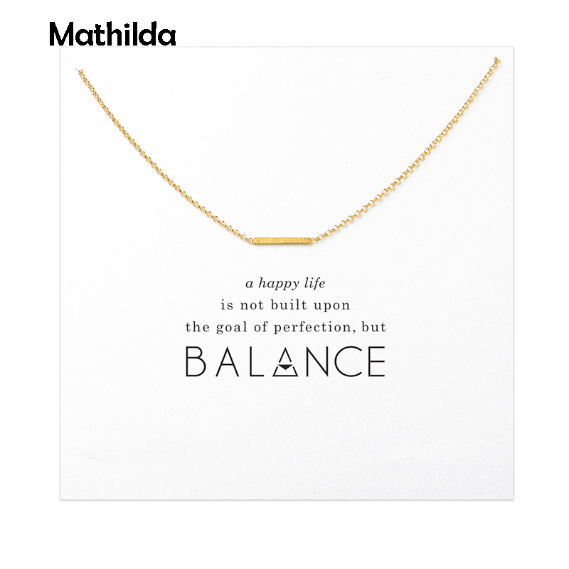 Sparkling Balance Small Bar Necklace Gold Dipped Pendant Necklace Clavicle Chain Statement Necklace Women Jewelry T0272