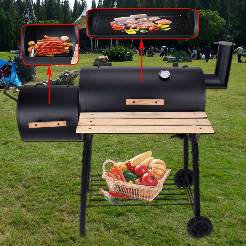 Ship From USA Mountain Net Charcoal Barbecue Grill BBQ Offset Smoker  Outdoor Garden Patio Heat Oven Temperature Gauge W/ Wheel In BBQ Grills  From Home ...
