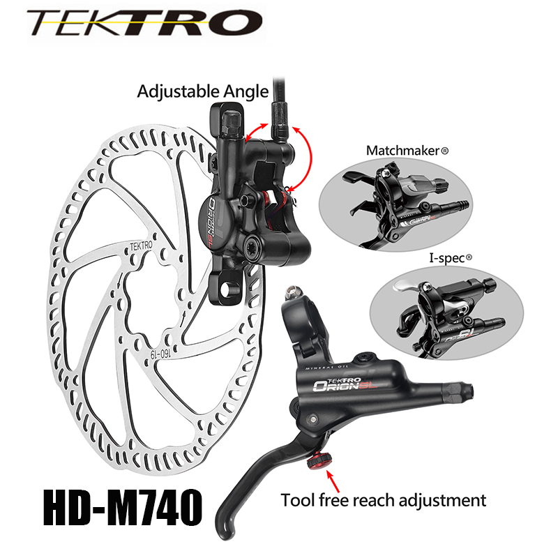 TEKTRO HD-M740 Brake Set 293g/wheel MTB Hydraulic Disc Brake Forged Aluminum Dual Piston Lever + Caliper for Confident Braking shimano slx bl m7000 m675 hydraulic disc brake lever left right brake caliper mtb bicycle parts