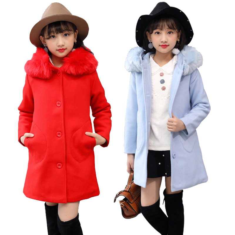2018 New Girls Winter Wool Overcoat Princess Children's Fashion Outerwear Kids Woolen Clothing Coat Students Fur Collar Hoodies elegance princess winter wool coat 2016 new fashion fur stand collar overcoat winter warm jacket for girls pink red 120 160cm