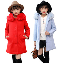 2018 New Girls Winter Wool Overcoat Princess Children's Fashion Outerwear Kids Woolen Clothing Coat Students Fur Collar Hoodies