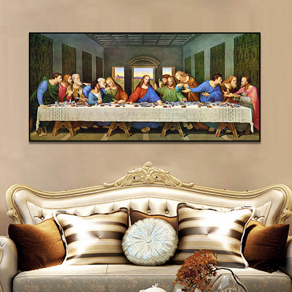 Unframed Canvas Art Painting Last Supper Christian Jesus Portrait Prints Wall Pictures For Living Room Wall Art Decoration