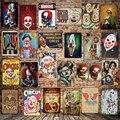[Mike86] страшный клоун цирковой металлический знак настенный плакат живопись искусство Рождественский Декор Искусство