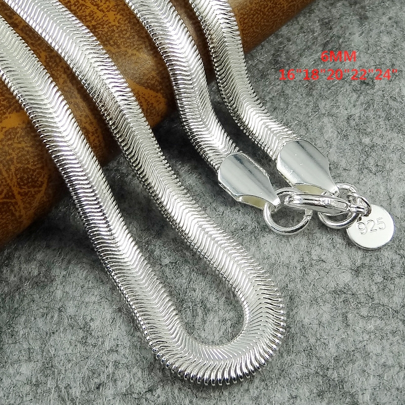 Wholesale 16-24 inch Free shipping Popular fashion silver Plated 6mm Snake Bone flat nec ...