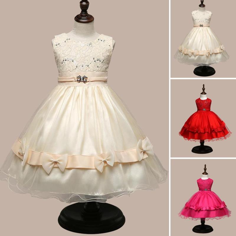 Princess Kids Baby Girls Multilayer Tulle Party Dance Dress Cake Tutu girls sequined bow princess Pompon dress 4
