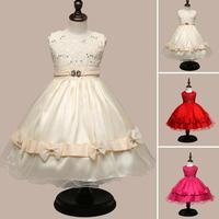 Princess Kids Baby Girls Multilayer Tulle Party Dance Dress Cake Tutu girls sequined bow princess Pompon dress 4