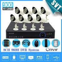 HD 900TVL Video Surveillance CCTV System 8CH CCTV 960H DVR NVR IR Cut Outdoor IP66 Cameras