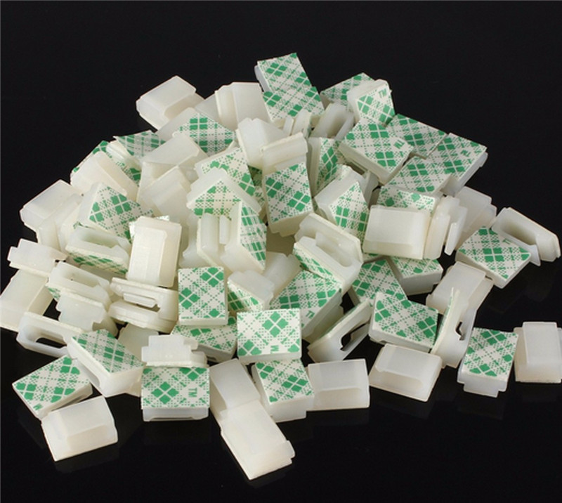 Newest electronic Plastic Clip Nylon 30pcs Plastic Self-Adhesive Rectangle Wire Cable Zip Tie Clip Clamp Mount White