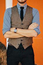 2016 vintage formale reale abbildungen braunem tweed weste männer wolle weste männer hochzeit Slim Fit Westen Heißer Verkauf Anzug Weste Männer Plus Größe