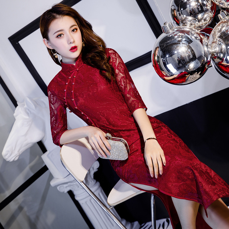 Mandarin Col xxxxxl Bouton Broderie Dentelle Ivoire Élégant Rouge Traditionnelles rouge Qipao Cheongsam Dames Chinois Robes M Main Sexy gvqPPBZx