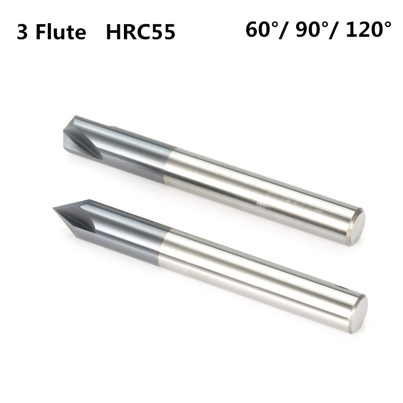 60 degree 3 Flute Carbide Chamfer End Mill 8mm Shank For Aluminum CNC Router Bit
