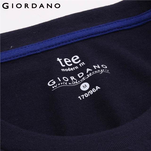 Giordano Men T-shirt Solid Ribbed Crewneck Tshirts Long Sleeves Brushed Cotton Warm Fitting Tee Winter Casual Clothing