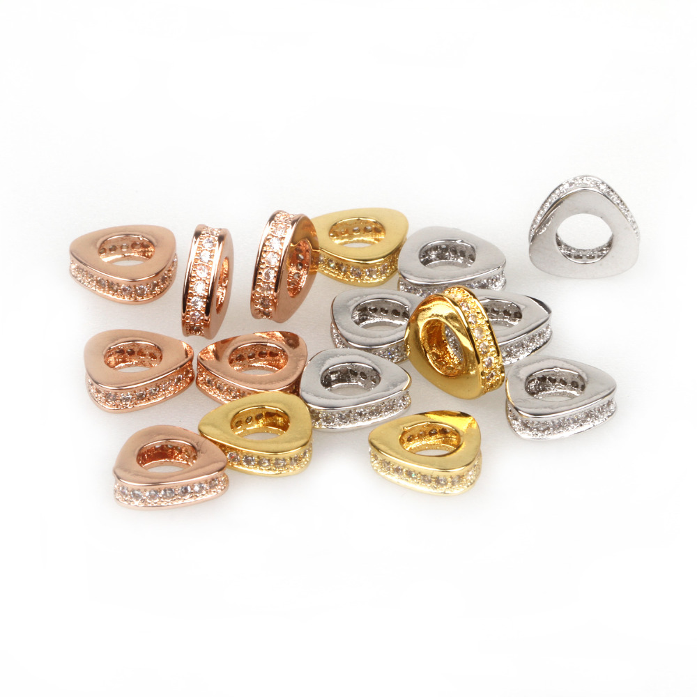 Fashion Large Hole Circle triangle Brass Micro Pave Cubic Zirconia Beads for Jewelry Making Lead Free & Nickel Free