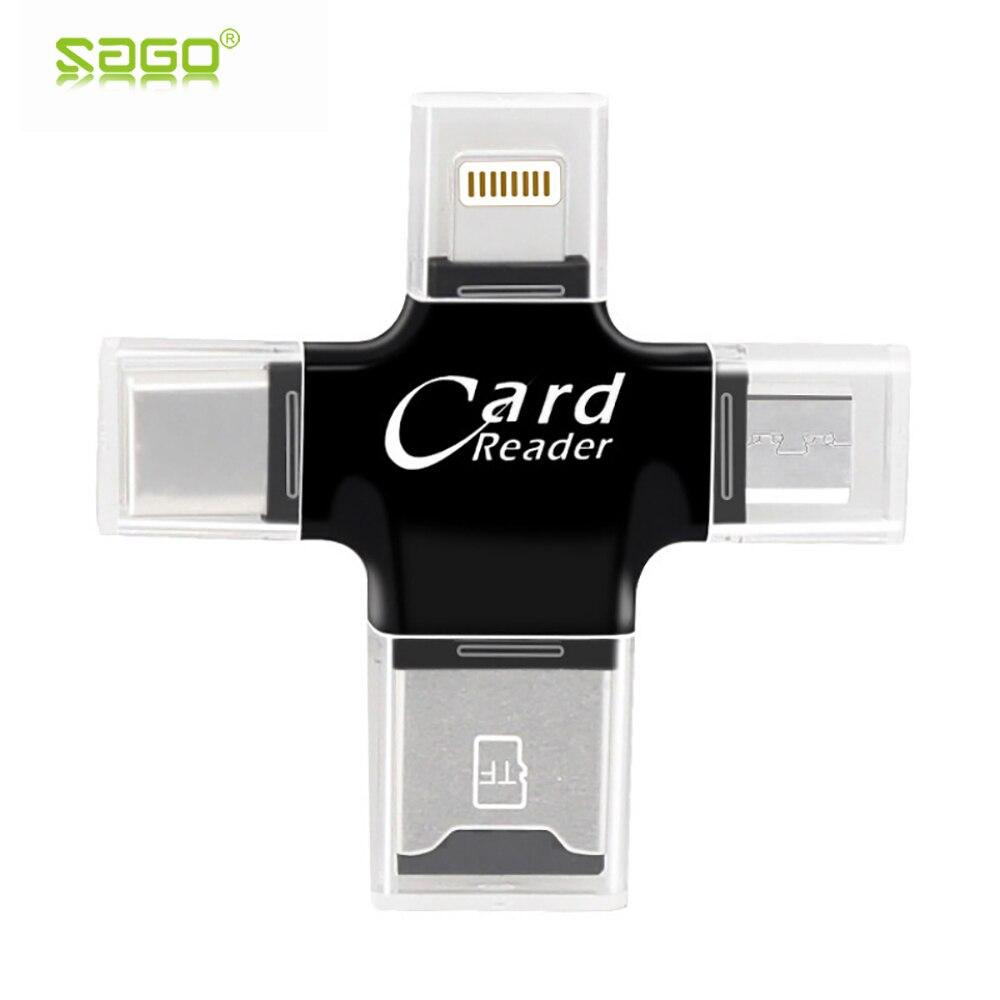 Lector de tarjetas 4 en 1 Adaptador Micro usb tipo C lector de tarjetas Micro SD lector de tarjetas Lightning para iPhone 8/iPad lector de tarjetas OTG inteligente