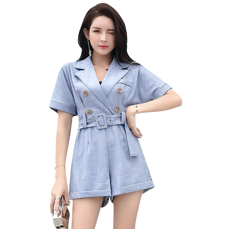 Notched Jumpsuit Playsuit Women Double-Breasted Adjustable Waist Sashes Empire Overalls Rompers Women Office Lady macacao S85092