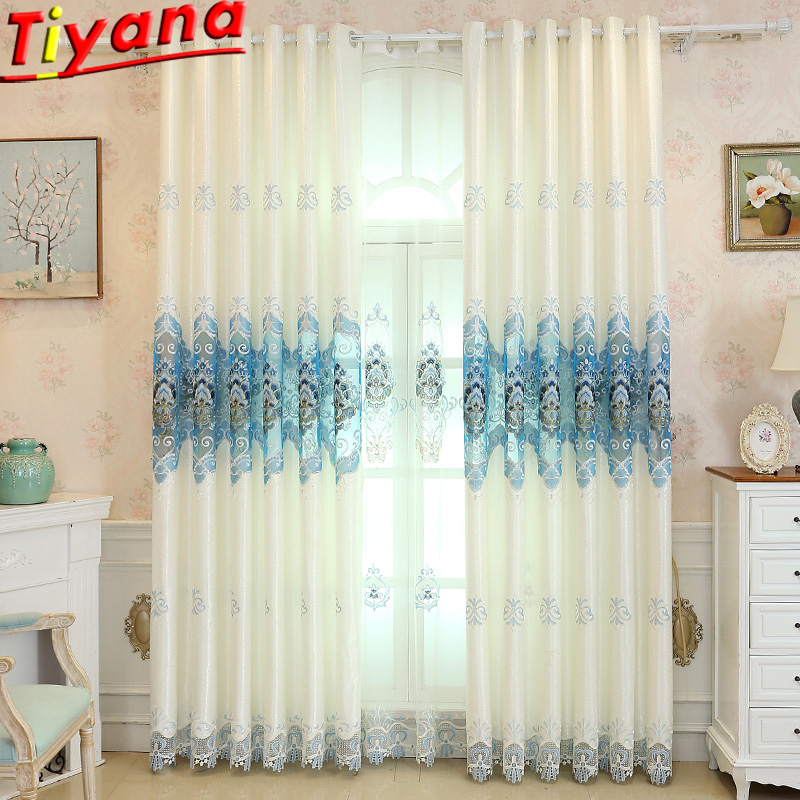 European Luxury Embroidery Curtains for Living Room Smei Blackout Curtains Ice Blue Flower Embroidery Tulle Yarn Panel WH039 40 in Curtains from Home Garden