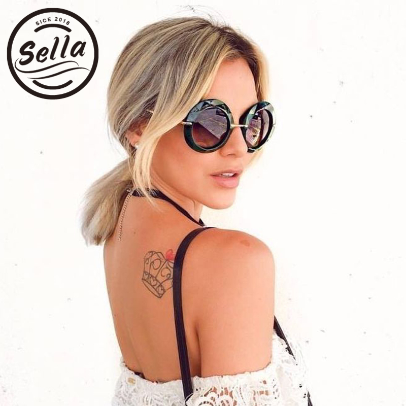 2018 mode Frauen Übergroße Runde Sonnenbrille Marke Designer Retro Klassische Transparent Rahmen Polygon Damen Sonnenbrille UV400