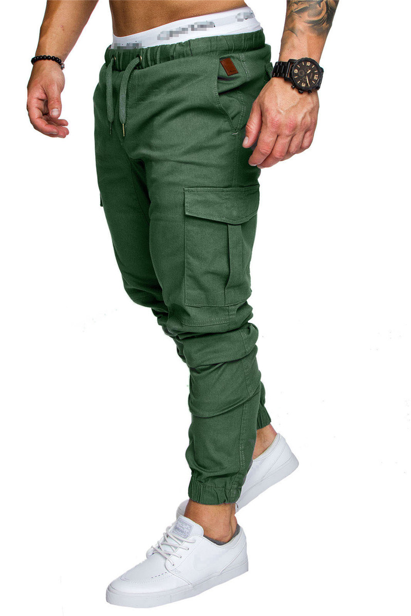 IceLion 2019 New Fashion Pants Men Solid Elasticity Men's Casual Trousers Mens Joggers Drawstring Multi-pocket Pants Sweatpants 22