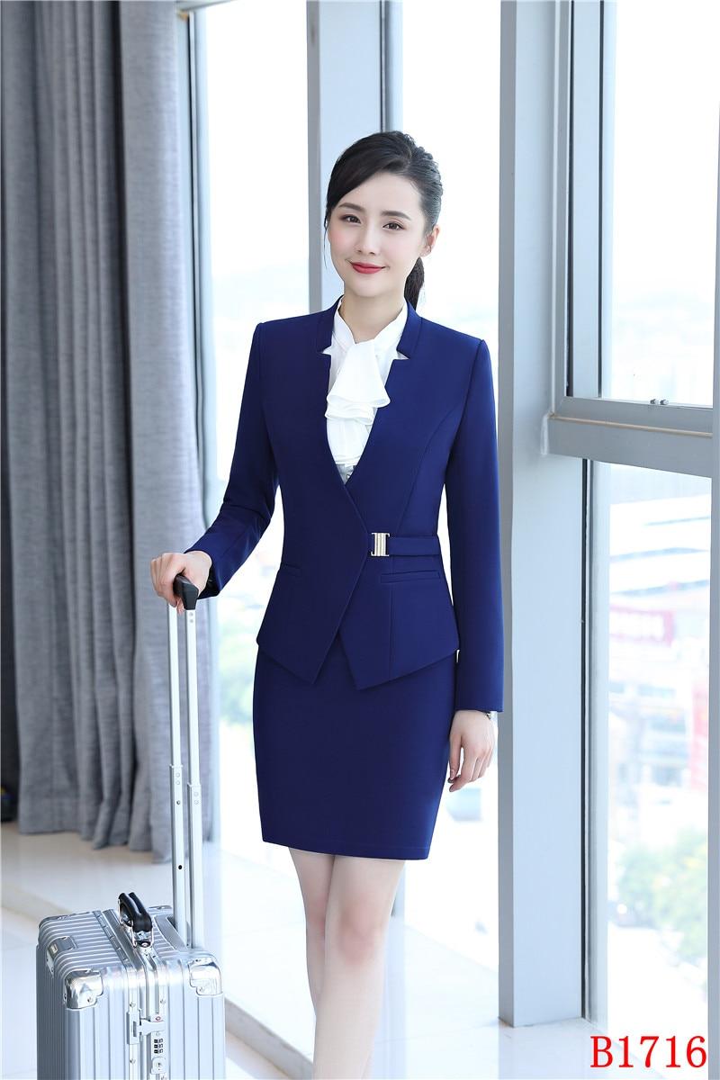 b63980faddd1 E Del Blazer Navy Blu Donna Disegni Eleganti Viola Giacca Usura Stile Vestiti  Per Dei Ufficio blu Affari Gonna Set Uniforme Elegante Con Lavoro Di  oQWdCerBx