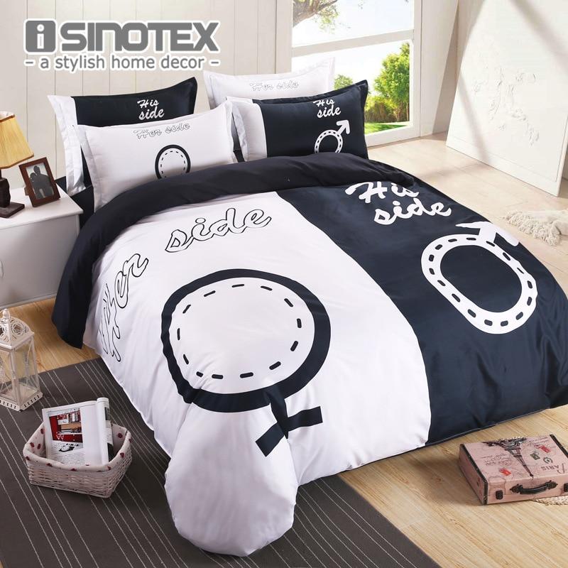 Brand Bedding Set Duvet Cover Set for Couples Plain Letter