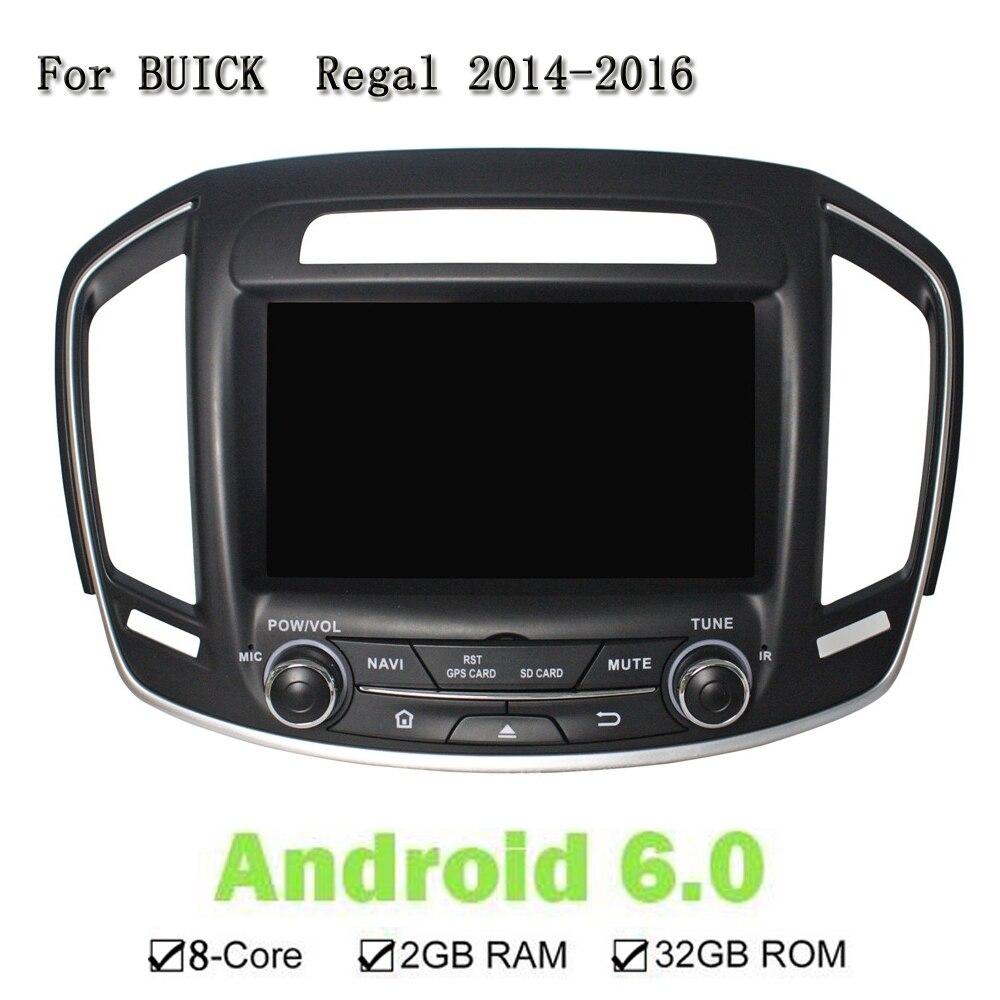 8 Android 6.0.1 Car gps Navi DVD плеер для Buick Regal 2014-2016 Octa Core 2 ГБ Оперативная память 32 г Встроенная память автомагнитолы мультимедиа головное устройство