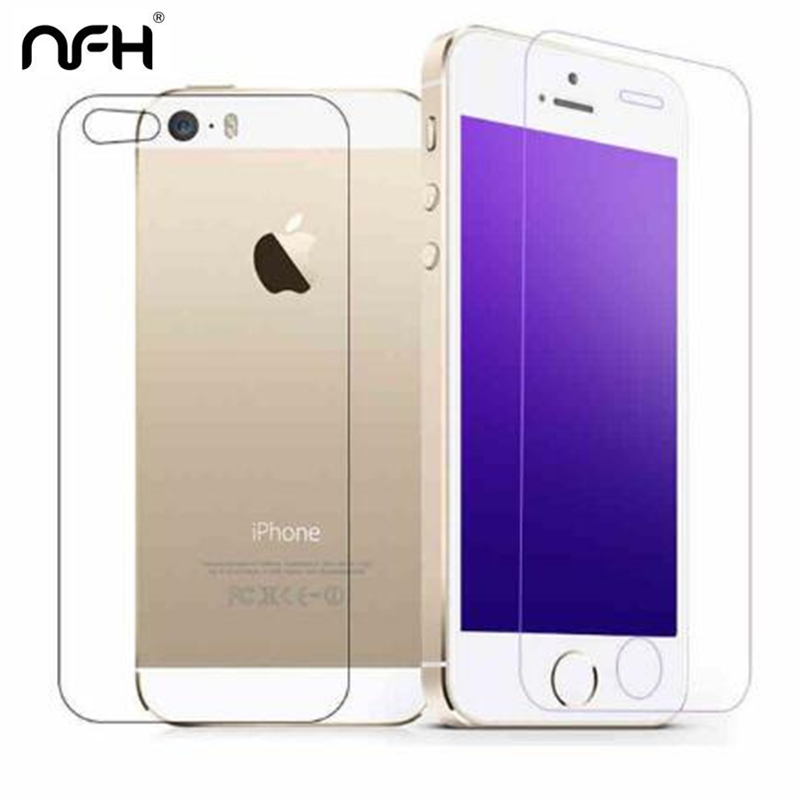 Front Film and Back Film Tempered Glass On For iPhone 5 5S SE 9H Back