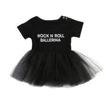 a69965ed4027f Pudcoco幼児女の赤ちゃん服チュールロックンロールレタープリントロンパースドレスプリンセスチュールレースドレス衣装セット0-3y